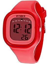 Malloom®2015 moda natación reloj deportivo silicona digital LED impermeable unisexo reloj Rojo