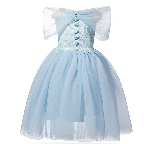 Girl 's Princess Cinderella Sling Ärmelloses Kleid Kostüm Cosplay Halloween Geburtstag Party Kleid Fancy Kleid - Blau
