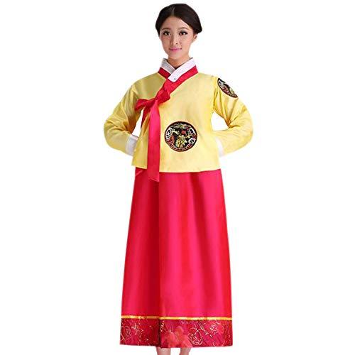 Hochzeit Koreanische Traditionelle Kostüm - XFentech Damen Traditionelle Festlich Partykleid - Langarm Dress Stickerei Formal Abendgesellschaft Kleidung, Gelb-Rose Rot, Büste-110