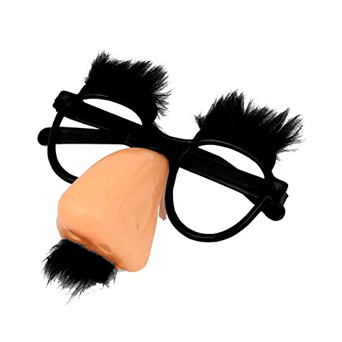 Cikuso Runde Brille mit rosa Nase und schwarzem Schnurrbart zu Koralle Clown