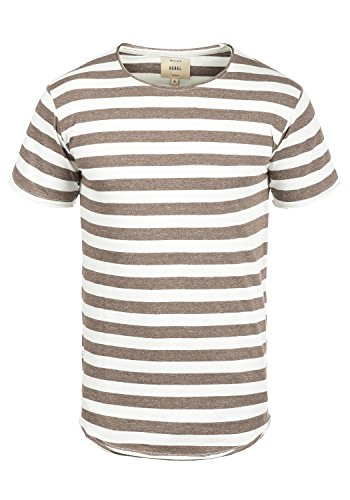 Redefined Rebel Milo Herren T-Shirt Kurzarm Shirt Mit Streifen Und Rundhalsausschnitt 100% Baumwolle, Größe:M, Farbe:Faded Brown - Button-down Polo Shirt Gestreift