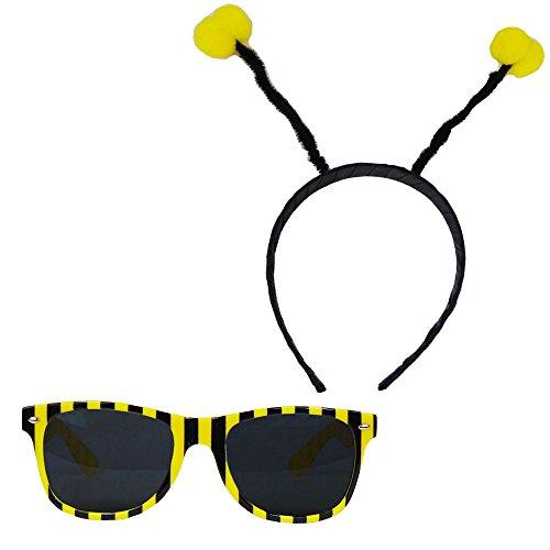 üm-Accessoires - Fühler + Brille (Biene Mädchen Kostüm)