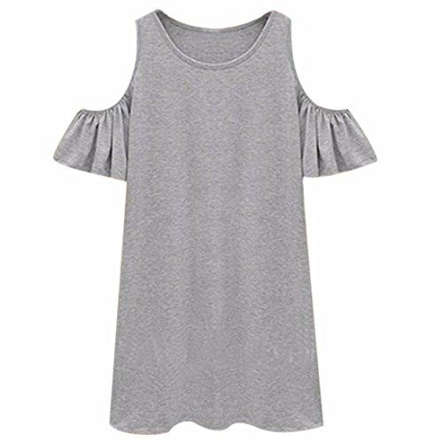 QIYUNZ Kurz Frauen Hülse Kleid Kalte Schulter Falbala Rüsche Sommer  Etuikleid Grau