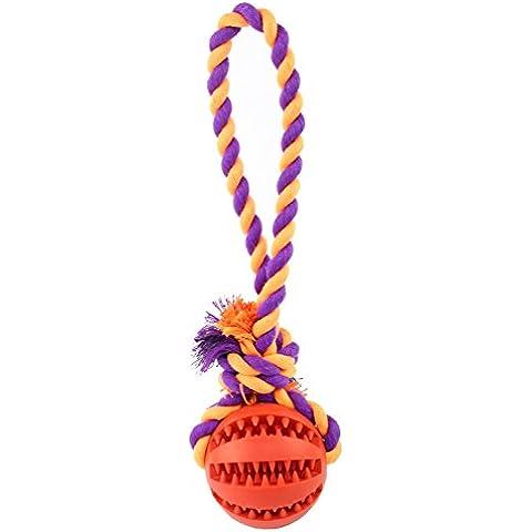 wangstar Chew perro de mascota de juguete con cuerda, goma de diente Chew Formación bola de limpieza, Tug Toy banda juguete