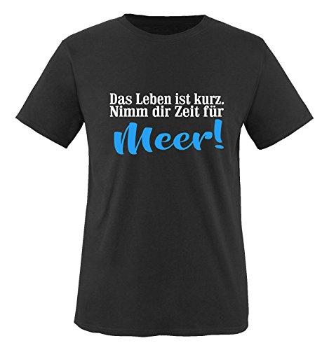 Comedy Shirts - Das Leben ist kurz. Nimm dir Zeit für Meer! - Jungen T-Shirt - Schwarz / Weiss-Blau Gr. 98/104 (Leben Ist Für Jungen Das Gut-shirt)