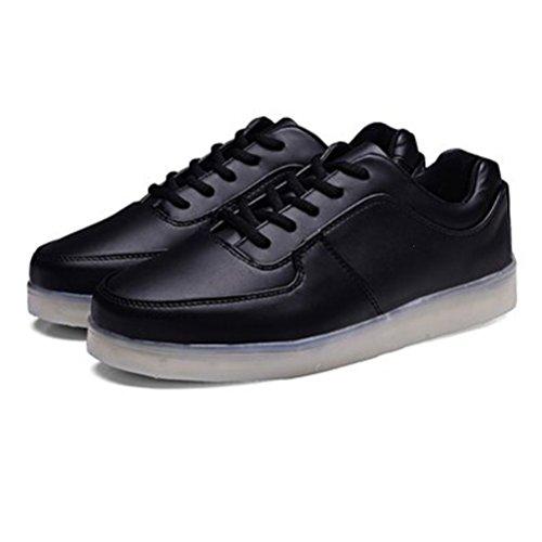 present Für Farbe Handtuch Lackleder Sport Sportschuhe Unisex Schuhe Schwarz 7 erwachsene Sneaker Usb kleines Turnschuhe Aufladen junglest® High Led Leuchtend Top rA5xBrqnT