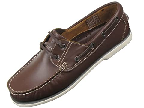 Mens Deck Boat Moccasin Leather Shoes Brown_Size_9