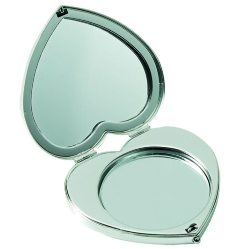 Miroir de poche double en chrome, en forme de cœur