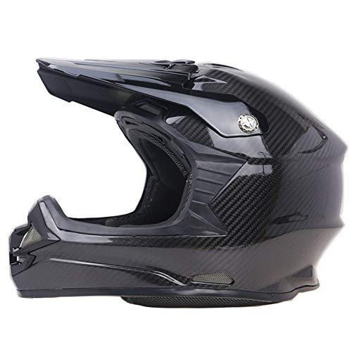 Preisvergleich Produktbild LETU Zombies Racing Motocross-Helm aus Carbonfaser DOT ECE-geprüfter Motorradhelm ATV MX Motorradhelm Lightweight Endurance / Rally (schwarz), S55~56cm