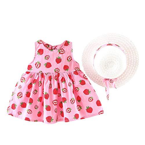 REALIKE Kinder Baby Mädchen Ärmellos Kurze Kleid+1PC Hut Mode O-Ausschnitt Polka-Punkt Bogen MiniKleid Hoher Taille Prinzessin Sommerkleid Urlaub Outfit Kleidung Schön Kleinkind (Rosa-2, 80) -
