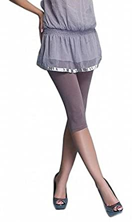 Damen Leggings Hose Capri 3/4 aus Baumwolle (S, beige)