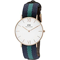 Daniel Wellington Women's Quartz Watch with White Dial Analogue Display and Multicolour Fabric Strap 0553DW