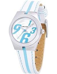 Reloj TIME FORCE de niño /señora. Acero Correa de piel. Blanco y azul. TF-2943L03