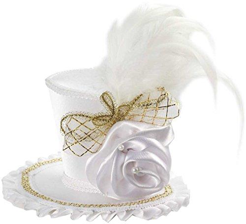 Forum Novelties Inc. Forum Novelties Women's Mini Top Hat with Rose Costume Accessory, White, One Size