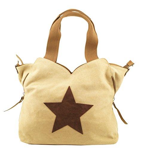 KENDT Design - Canvas Kompakt Damentasche Henkeltasche mit Stern, Stofftasche mit Leder Stern, verschiedene Farben (KDG-6210) (dunkelblau-blau) Apricot-Beige