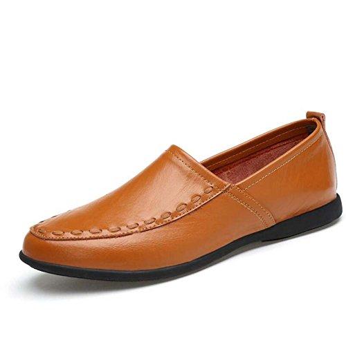 GLSHI Piselli da uomo scarpe scarpe piedi morbidi scarpe fatte a mano fondo estate di grandi dimensioni (Colore : Giallo, Dimensione : 37)