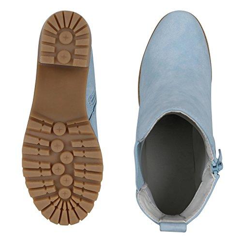 napoli-fashion Damen Stiefeletten Chelsea Boots Blockabsatz Profilsohle Schuhe Jennika Hellblau