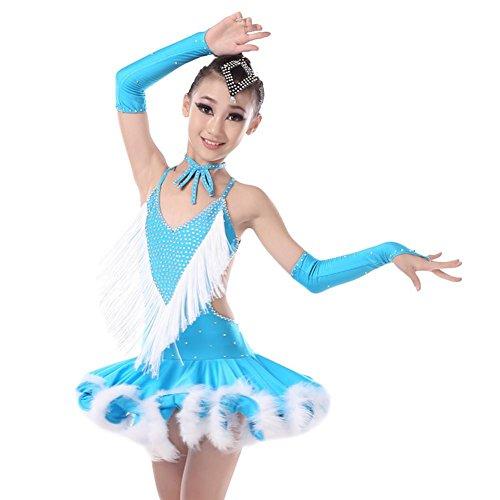 Kinder lateinische Tanz-Kostüm-Kleid Adult Samba Performance-Bekleidung Mädchen Latin Quasten Ballroom Dance Rock (Rot, Grün, Lila) , green , 3xl (Samba Kostüme Für Kinder)