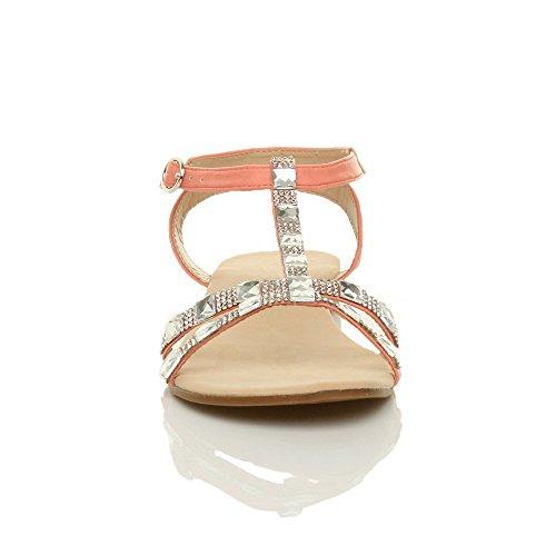 Damen Flach Riemchen T-Riemen Sommer Strass Diamant T-Spangen Knöchelriemen-Sandalen Größe Korallenfarbig