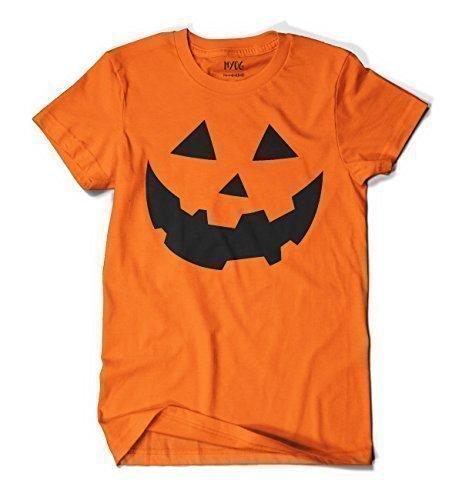 MYOG Kürbis Gesicht T-Shirt, Halloween Kostüm für Männer & Frauen, Größen S-2XL - Orange, Mens L - Für Halloween-kürbisse Gesicht Designs