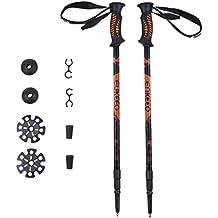 Enkeeo - 2 Pack Bastón de Senderismo Extensible (Aleación de aluminio, 3 tramos, anti-choque, agarre ajustable, correa de muñeca, para trekking, senderismo, viaje)