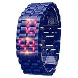 HLIYY- New Iron Samurai Metal Bracelet Lava Watch LED Digital Watches Hour Men Women Montre Bracelet Femme avec Bracelet en Silicone Mouvement à Quartz étanche, Coloris au Choix