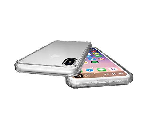Meimeiwu Anti shock Cover TPU Soft Bumper Case + Transparente Acrylic Custodia Per iPhone 8 - Rose Rosso Transparente