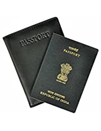 INDIA Black Leather Passport Wallet / Cover (Black, Leather)
