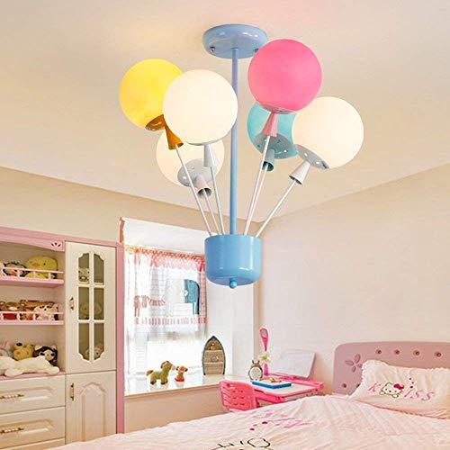 XQY Wohnzimmer Schlafzimmer Korridor Beleuchtung, Haushalt Deckenleuchte Flush Mount Licht amerikanischen Stil Kinder 'S Zimmer kreative Ballon Glas Lampenschirm Eisen Kronleuchter Schlafzimmer Wohnz -