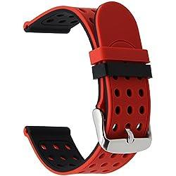 TRUMiRR 22mm silicona goma banda de reloj doble lado llevar correa para Samsung Gear S3 Classic Frontier, Gear 2 R380 R381 R382, Moto 360 2 46mm, Asus ZenWatch 1 2 Hombres, Pebble Time, LG Urbano(Ajustar muñecas menores de 8.7)