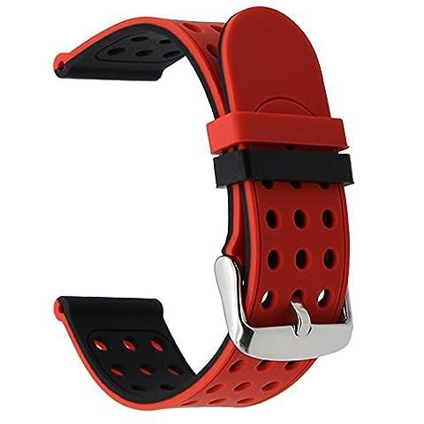 TRUMiRR 24mm Bracelet en caoutchouc silicone bande double pour Sony Smartwatch 2 SW2, Suunto TRAVERSE, Autres montres avec 24mm Lug