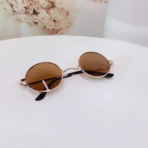CYCY Kindersonnenbrille Kindersonnenbrille Jungen und Mädchen Brille Runder Rahmen Baby Sonnenblende Champagner Sonnenblume Orange Tasche, Gelb Klassisch Braun + Tasche Polarisiert