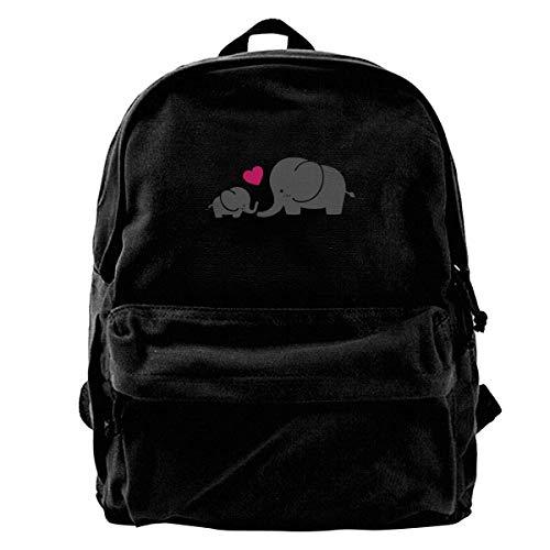 Canvas Backpack Elephant Mom Rucksack Gym Hiking Laptop Shoulder Bag Daypack for Men Women -