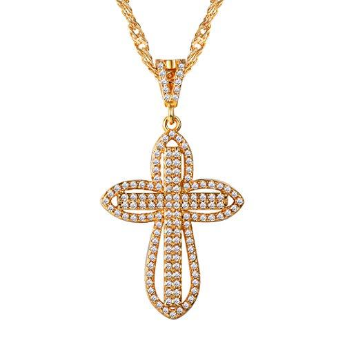 Suplight Damen Kette Blume Kreuz mit Zirkonia Anhänger Halskette 18K Vergoldet Kettenanhänger für Frauen und Mädchen, Gold