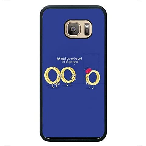 Samsung Galaxy S7 Case,Cartoon golden ring pattern blue Fashion Trend Durable Hard Plastic Scratch-Proof Protective Case,Black