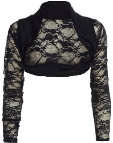 Ladies Black or White Lace Shrug Bolero - Sizes 8 to 14