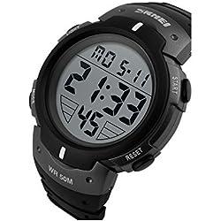 TTLIFE 1068 Outdoors Unisex LED Analog Digital Multifunction Sport Watch Water Resistant (Silver)