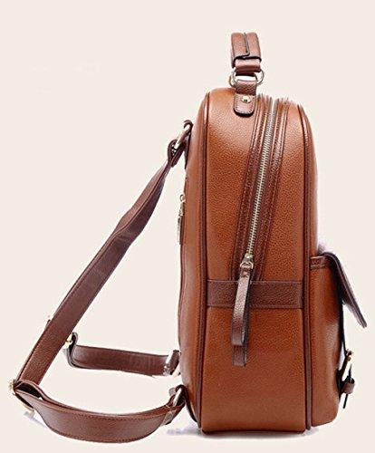 Keshi Pu neuer Stil Schulrucksäcke/Rucksack Damen/Mädchen Vintage Schule Rucksäcke mit Moderner Streifen für Teens Jungen Studenten Beige