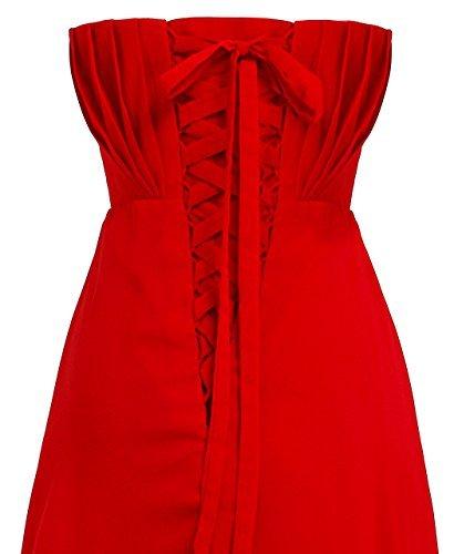 Fashion Plaza chiffon lange Trägerlosen Abendkleid mit einer schönen Gürtel Modul D004 Rot