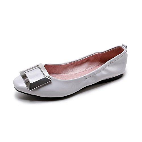 AllhqFashion Femme Carré Non Talon Tire Couleur Unie Chaussures à Plat Gris