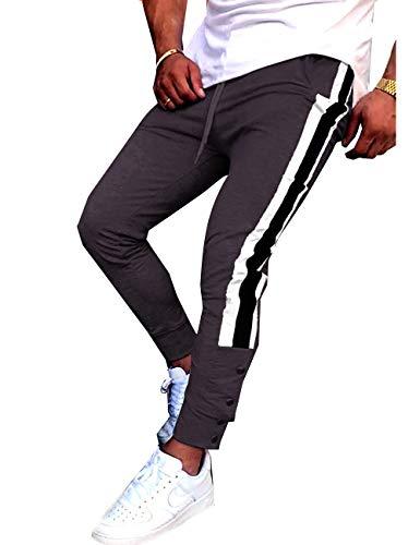 zakus Herren Jogging Hosen Jogginghose mit Streifen Pants Slim Fit Freitzeithose Trainingshose Joggerhose Jogger Jogging-Hose Fitness Sport (L, Braun)