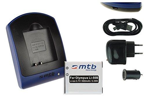 Akku + Ladegerät (Netz+Kfz+USB) für Li-50b / Olympus SH-..SP-..SZ-..TG-..VG-..VR-..XZ-..mju-..µ-.. / Pentax / Ricoh WG-... - s.Liste!