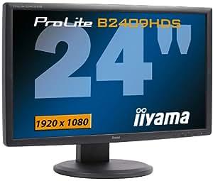 "iiYama PLB2409HDS-B1 Ecran PC LCD Full HD 24"" wide VGA DVI HDMI (HDCP) multimedia 1920x1080 2 ms 10.000:1 pied réglable en hauteur Noir"