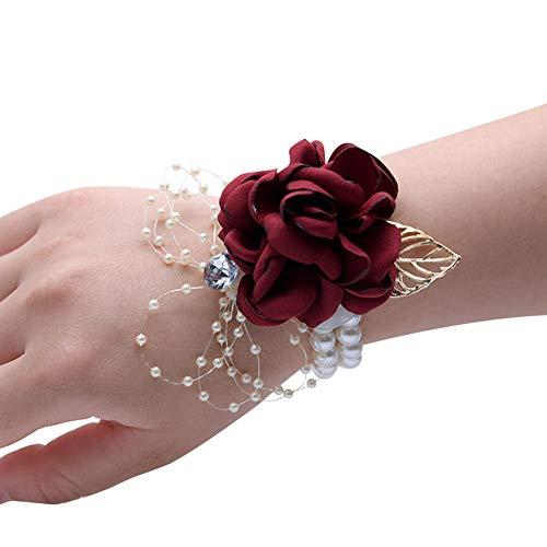 Da.wa sposa damigella braccialetto bouquet di fiori rosa cinturino fiore cinturino fiore bead catena decorazione