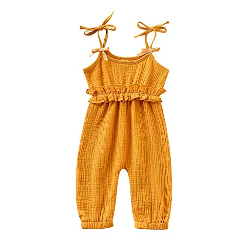 Jumpsuit Sommer Pwtchenty Kinder Baby Mädchen Ärmellose Rüschen Volltonfarbe Sling Baumwolle Lässig Bowknot Bodysuit Strampler Overall Outfit Set
