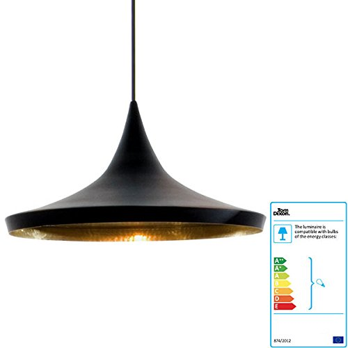 Tom Dixon Beat Black Wide - Lampada a Sospensione in Ottone, Ø 36 cm, Colore: Nero