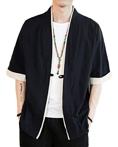 Retro Chinesischen Stil Jacke Strickjacke Herren Baumwoll-Leinen-Mischung Kurzarm Mantel Kimono Schwarz S -