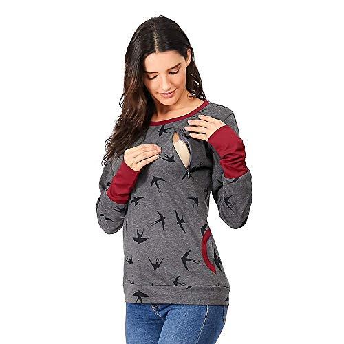 tandskleidung Pullover Gedruckt Pullover Mit Pflege Schal Loop Stil Party Stillen Mutterschaft Herbst Winter Warme Mode Sweatshirt Outwear Schwangerschaft Taschen Oberteile ()