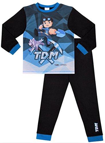 The pyjama factory, pigiama da bambini con motivo dan tdm, eroe di youtube blue 8-9 anni