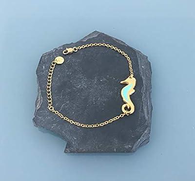 Bracelet femme gourmette hippocampe en argent doré, bracelet femme, idée cadeau, bijoux cadeaux, bijou hippocampe, bracelet femme doré